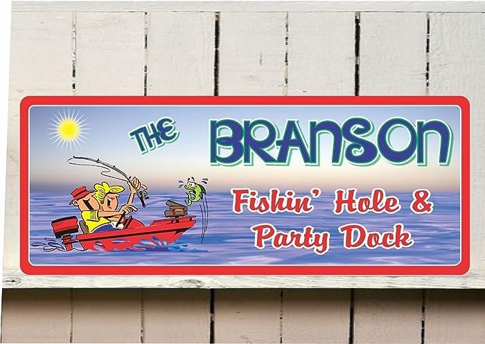 6cfeb6195 Amazon.com: Personalized Fishin' Hole Fishing Sign with Your Custom ...