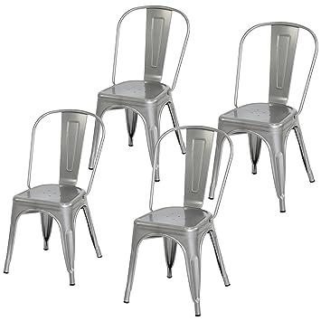 Amazon.com: Juego de 4 sillas de comedor industriales ...