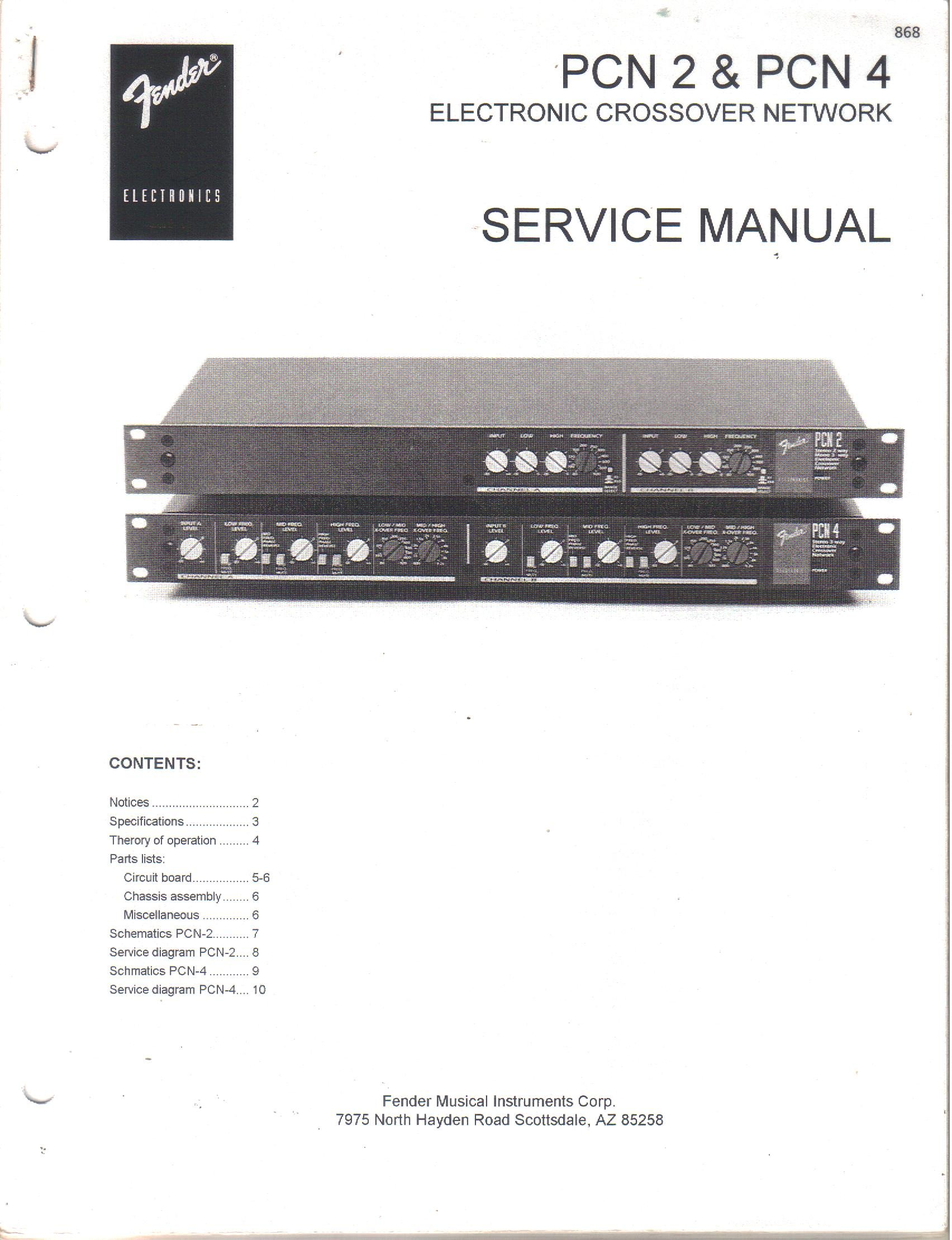 fender pcn 2 pcn 4 electronic crossover network service manual rh amazon com Fender Rolling Fender Stereo