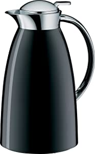 alfi Gusto Glass Vacuum Lacquered Metal Thermal Carafe for Hot and Cold Beverages, 1.0 L, Black