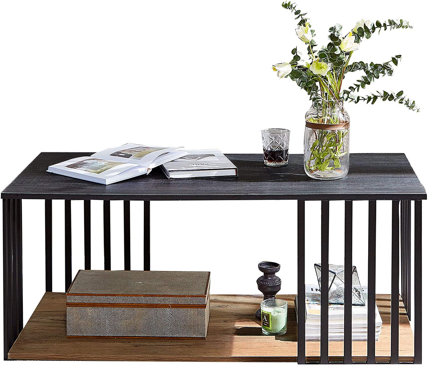 Linsy Home Black Coffee Table , 2 Tier Shelf for Living Room, Wood and Metal, LS209M3-A
