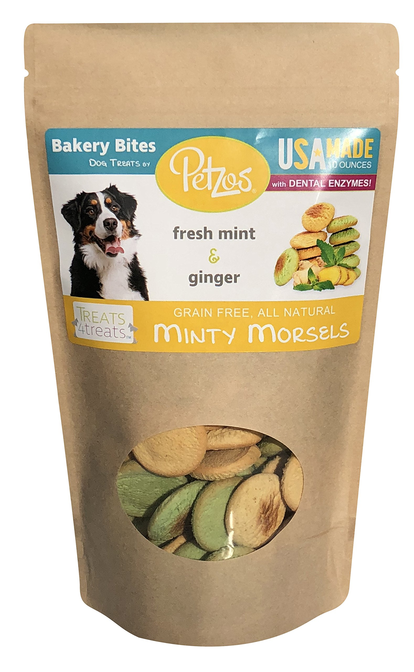 Petzos Grain Free Dog Treats | 2 Flavors - Mint & Ginger Dog Biscuits | Hypoallergenic | Gluten Free Dog Treats | Hand-Crafted by The Batch | 100% All Natural Gourmet | USA Made Dog Treats by Petzos