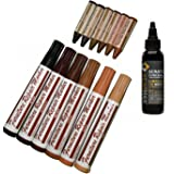 WearMax Total Furniture/Hardwood Flooring Repair System - 12Pc Scratch Restore & Repair Color Touch-Up Kit - (6)Felt Tip Markers, (6)Wax Stick Crayons - & (1)Topcoat sealer
