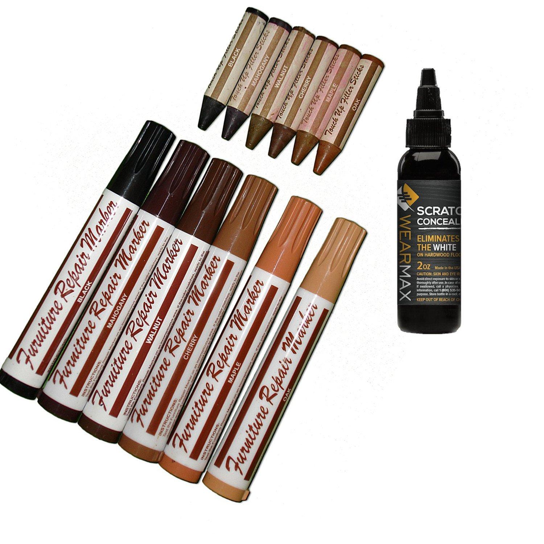WearMax Total Furniture/Hardwood Flooring Repair System - 12Pc Scratch Restore & Repair Color Touch-Up Kit - (6)Felt Tip Markers, (6)Wax Stick Crayons - & (1)Topcoat sealer
