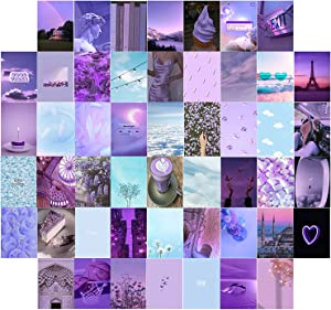 LABEKAKA 50 PCS Purple Blue Trendy Wall Collage Kit, 4x6 inch Card Print Kit, Dorm Room Décor Aesthetic for Teen Girls Womens, Small Posters for Inside Room, Wall Decor for Bedroom Cover Pictures Photos Collection