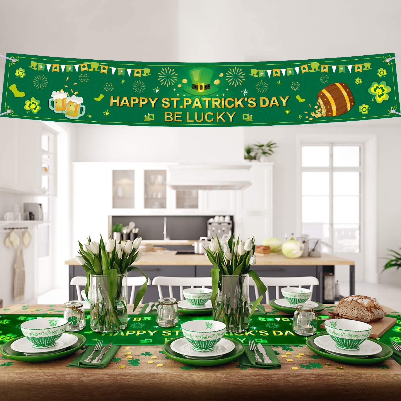 Humairc St Patricks Day Decorations Irish Pennant Bunting 7m Shamrock Garland 8pcs HandHeld Flag 15pcs Balloon for House School Restaurants Bars Party Accessories XL Irish Flag 150*90cm