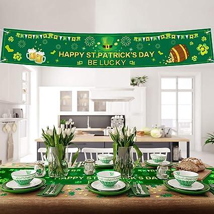 447634b57d3d5 Blulu St. Patrick Day Decorations Irish Lucky Shamrock Clover St Patricks  Day Banner Shamrock Table Runner Irish Clover Table Runner for Saint ...