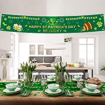 Banderines De San Patricio Bandera Irlandesa De Trébol 72 X 12 Pulgadas Decoración De Fiesta Colgantes Bandera De Día De San Patricio Sombrero De