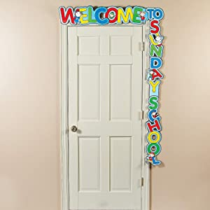 Fun Express Welcome to Sunday School Door Banner - Religious Classroom Decorations
