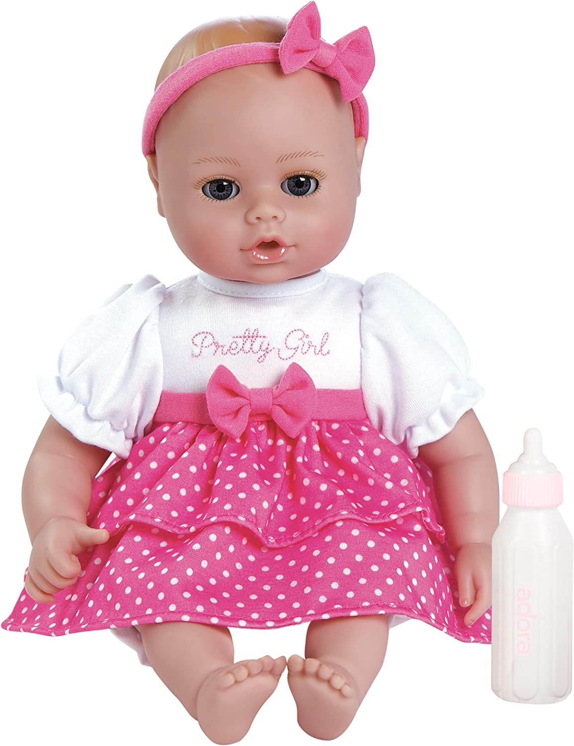 Amazon.com: Adora Playtime Baby Pretty Girl Vinyl 13 Girl Weighted Washable  Cuddly Snuggle Soft Toy Play Doll Gift Set with Open/Close Eyes for  Children 1+ Includes Bottle: Toys & Games