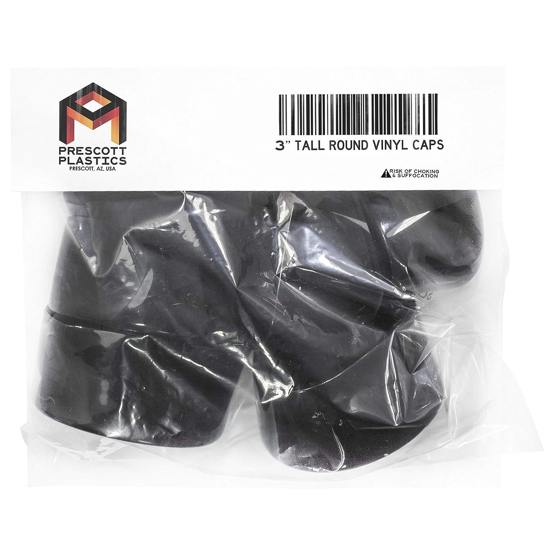 Prescott Plastics 8 Pack: Round Black Vinyl Tall Pipe Flexible End Cap Cover 1 1//2 1.5