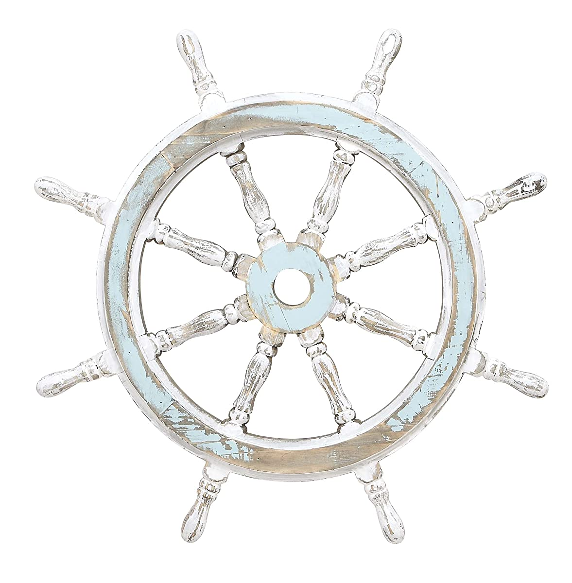 Deco 79 Wood Ship Wheel Nautical Maritime Decor, 24-Inch