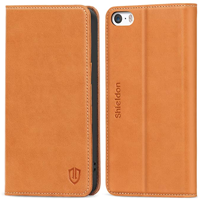 more photos 48d63 28c88 SHIELDON iPhone SE Case, Genuine Leather iPhone 5s Wallet Case Slim Flip  Cases Cover with Kickstand & Credit Card Slots, Magnetic Closure Compatible  ...