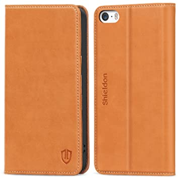 Funda iPhone SE,Funda Piel para iPhone 5s,SHIELDON Funda Cuero Genuino para iPhone 5/5S/SE, Carcasa en libro, Loporte plegable, Billetera para ...