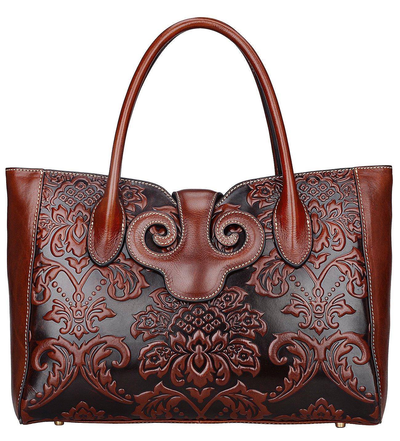 PIJUSHI Floral Handbags for Women Designer Handbag Top Handle Shoulder Bags for Ladies (91776 Brown)