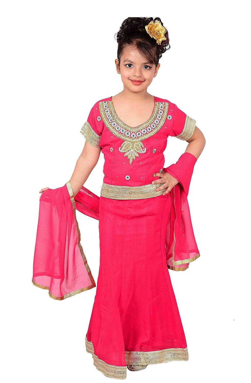 8f68603cd79 Amazon.com  Indian kids girls FUCHSIA Lehangas for wedding ...