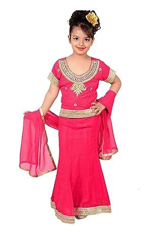 6bbb7693b5a5db Amazon.com  Indian kids girls FUCHSIA Lehangas for wedding ...