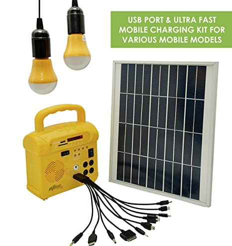 Happy2Buy Portable Solar Power System with Radio and Mp3, Lighting, Mobile Charger (Yellow)
