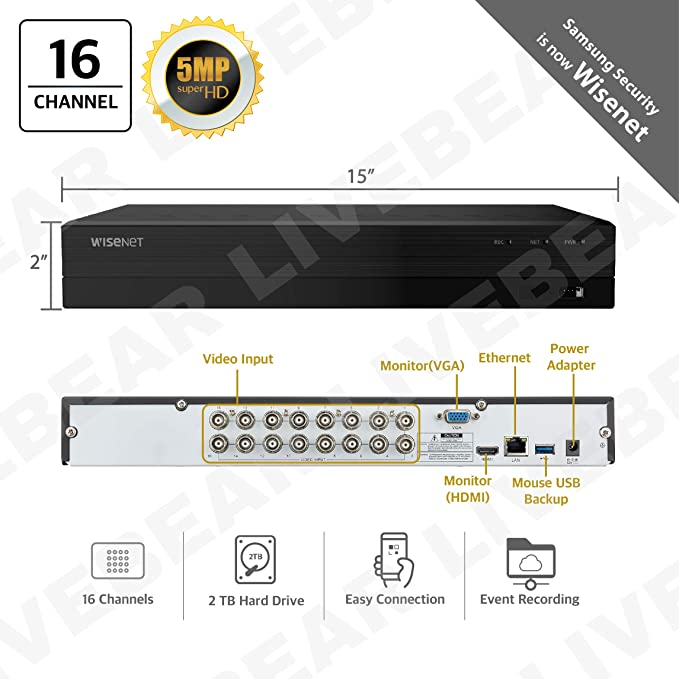 Wisenet SDR-853052T 16 Channel Super HD Video Security DVR with 2TB Hard  Drive