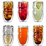 Vasos de doble vidrio Serafino, para cafés y tés fríos, con capacidad de 475 ml. Set de 6 vasos de vidrio con aislante