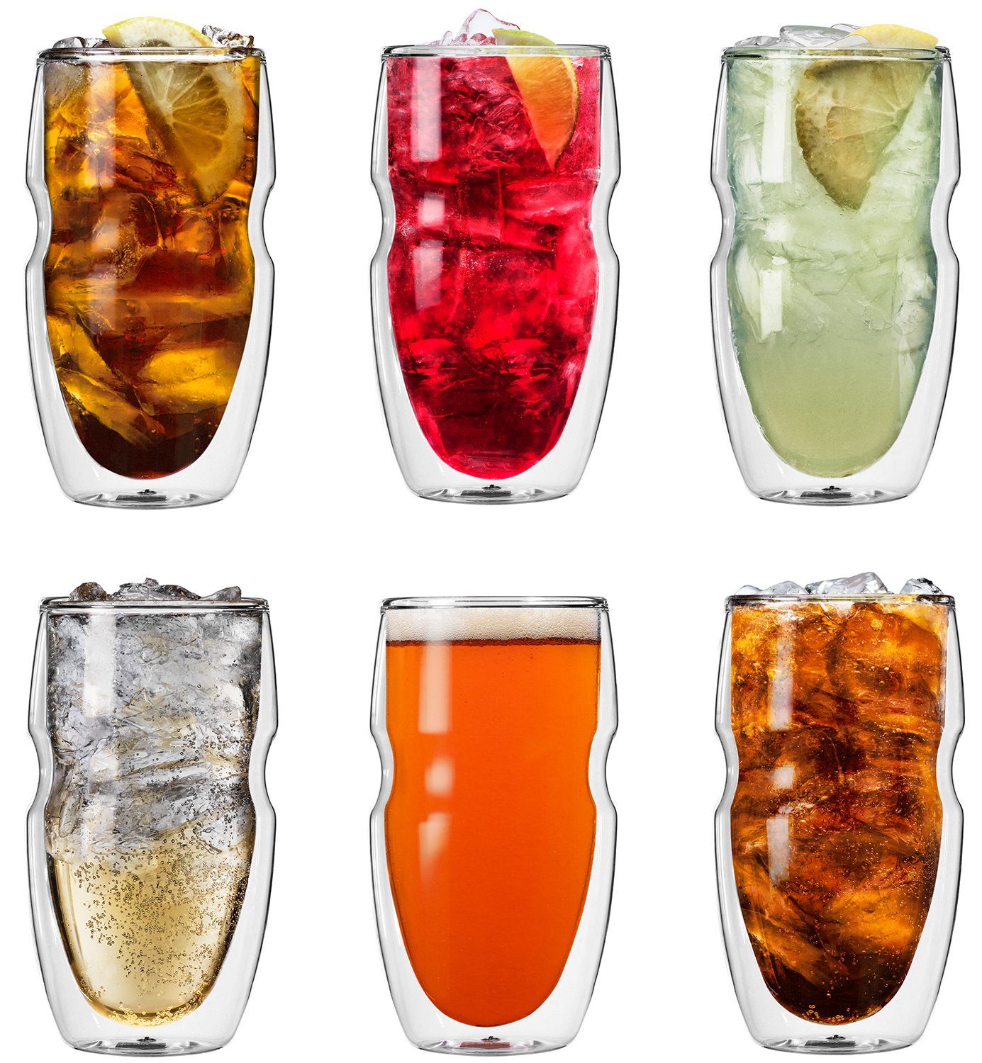 Ozeri Serafino Double Wall Insulated Iced Tea and Coffee Glasses, 16-Ounce, Set of 6