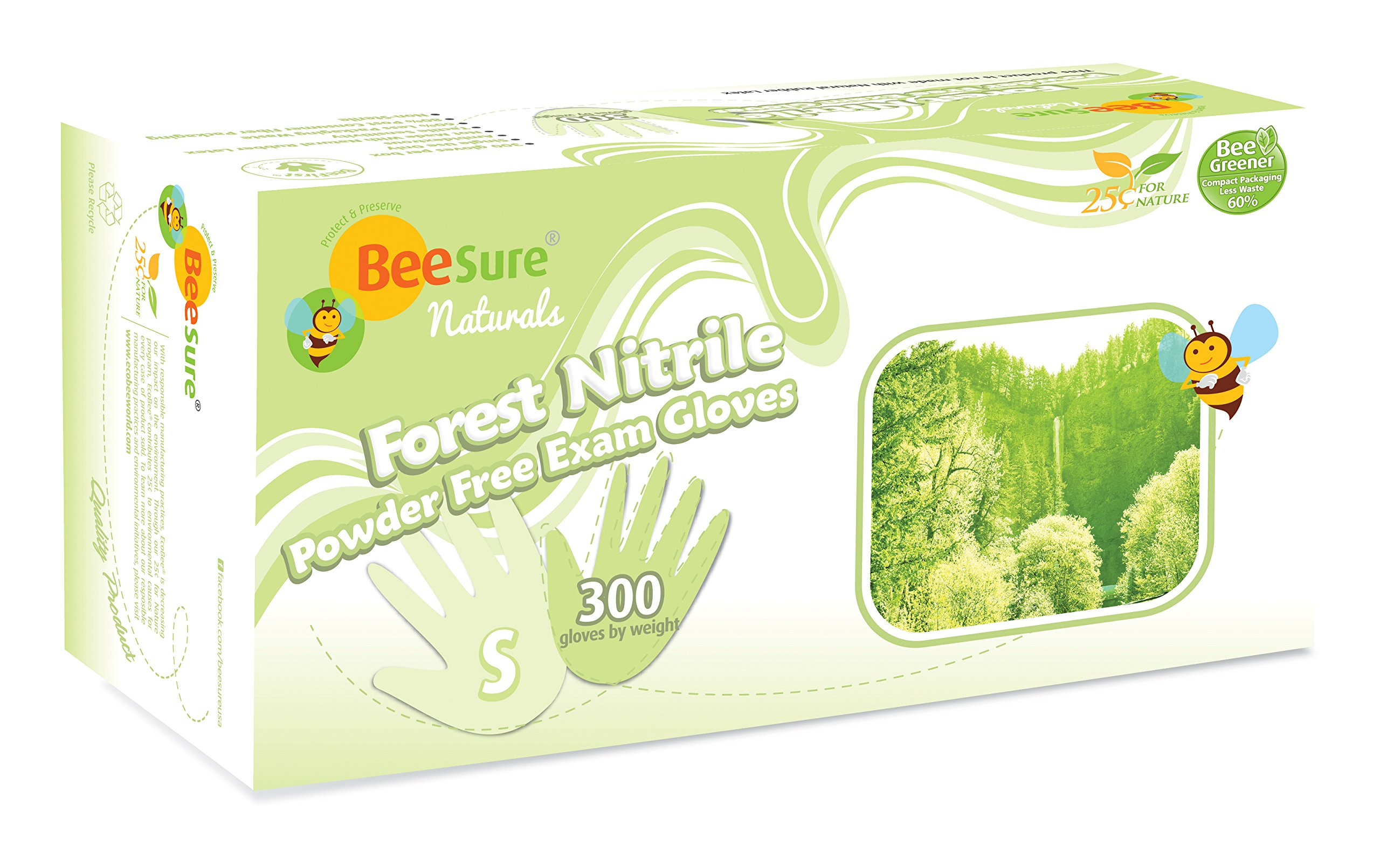 BeeSure BE2946 Naturals Forest Nitrile Powder Free Exam Gloves, 3 mil, Small, Nitrile, Beaded-Cuff (Pack of 300)