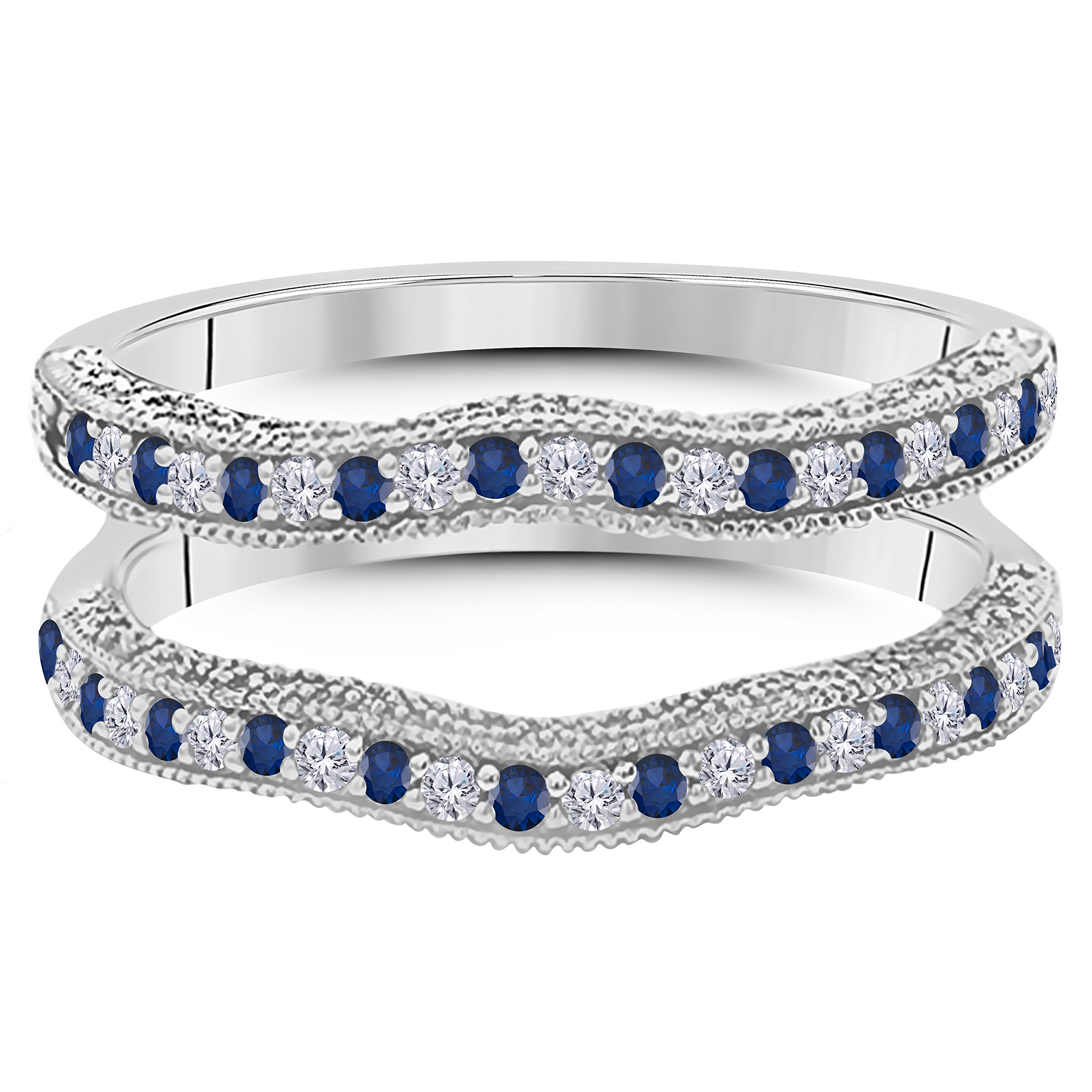 14K Gold Plated Alloy 0.50ct Created Blue Sapphire & Simulated Diamond Ring Solitaire Enhancer Guard Wrap for Women's by Silver Gems Factory