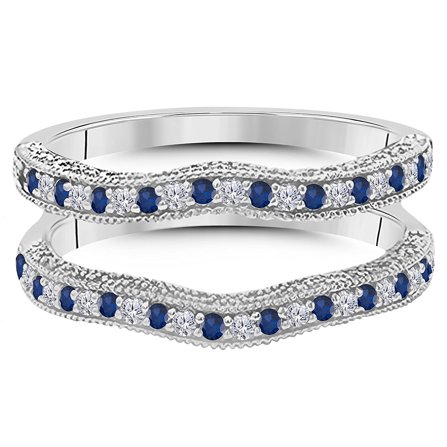 14K White Gold Over Alloy 0.50 ct Round-cut White CZ White CZ Simulated Diamond & Lab Created Blue Sapphire Ring Enhancer Solitaire Ring Guard Silver Gems Factory SGF-nm-29