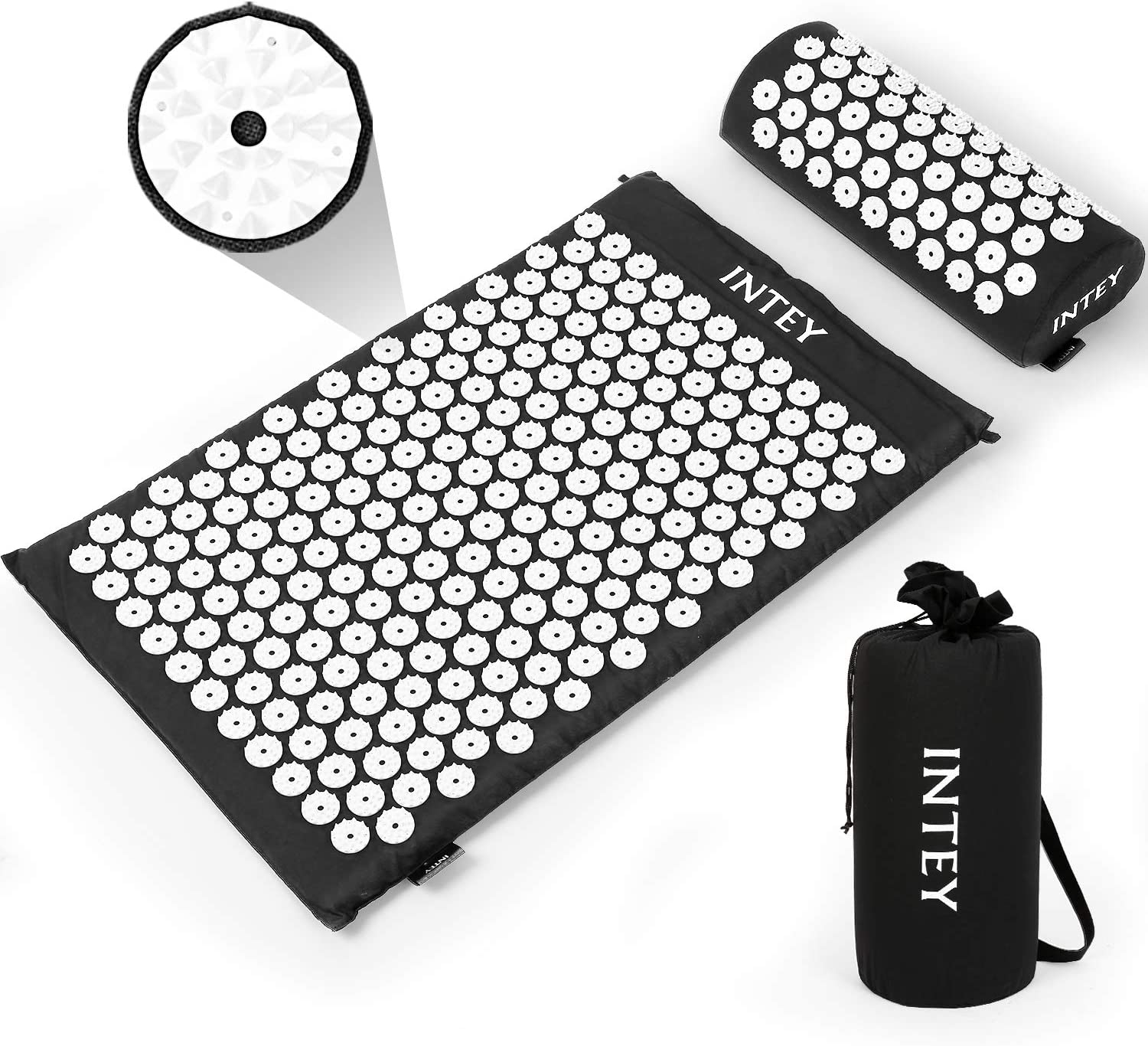 INTEY Wellness Therapy Acupressure Mat Set, Relief Muscle Pain and Stress, Acupuncture Mat and Pillow Cushion for Back, Neck & Feet Massage with Carry Bag (Black)
