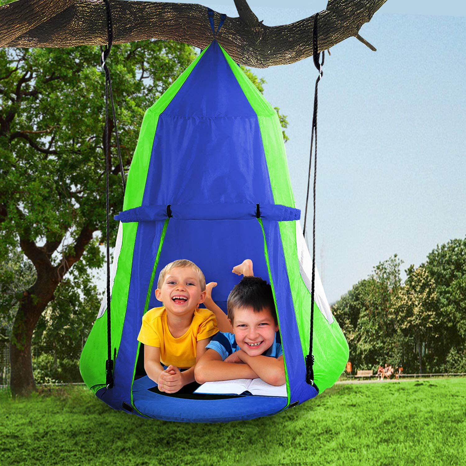 Hanging Tree Swing Tent Waterproof Kids Backyard Hammock Chair Max Capacity 600lbs Detachable Play Tent Swing Play House Castle Nest Pod Indoor Outdoor Bedroom Ceiling Hanging Tent Camping Tree House by Reliancer