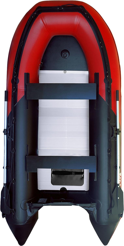 ALEKO hinchable rojo y negro barco 12.5 pies suelo de aluminio 6 persona Motor barco de pesca Balsa deporte 3 Cámaras de aire para la quilla diseño resistente: Amazon.es: Deportes y aire libre