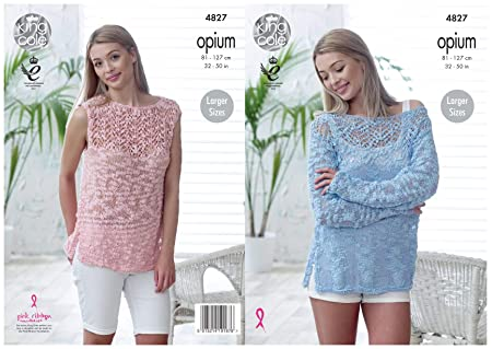 1fa8e1d0b Image Unavailable. Image not available for. Colour  King Cole Womens Opium  Knitting Pattern Ladies Off Shoulder Sweater ...