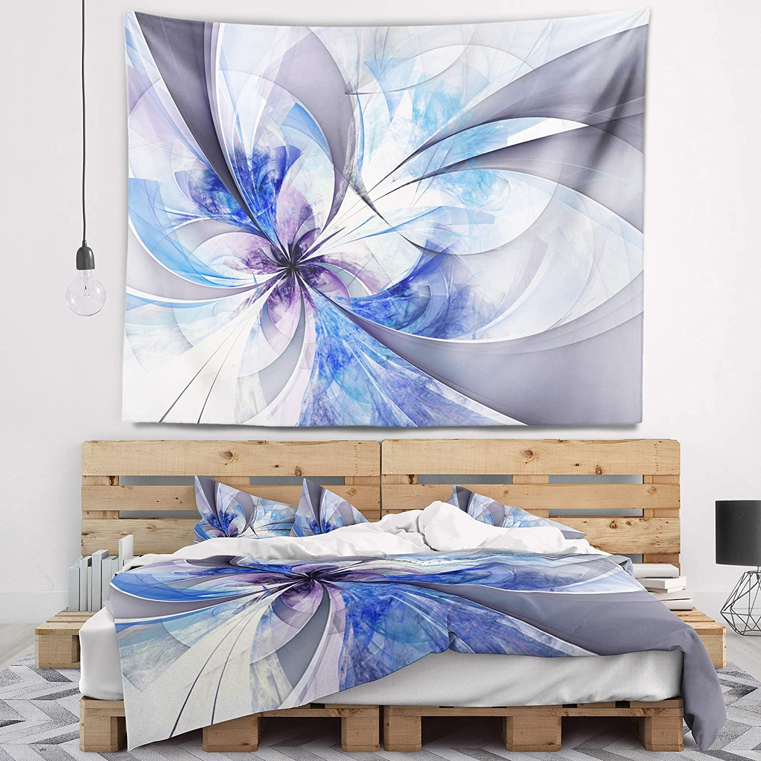 X 32 In Designart Tap12018 39 32 Blue Large Symmetrical Fractal Flower Floral Blanket Décor Art For Home And Office Wall Tapestry Medium Created On Lightweight Polyester Fabric 39 In