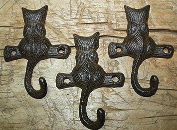 Set of 4 CAT Kitty Feline KEY leash TAIL as HOOKS rustic cast iron vintage style