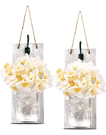 a91f413cb85 TEEHOME Rustic Hanging Mason Jar Sconces Home Decor (2 pcs) with LED Fairy  Lights