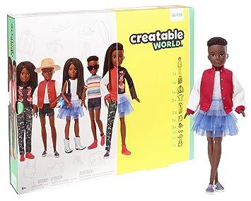 Creatable World Figura Unisex, muñeco articulado, pelucas con rizos y trenzas y accesorios (Mattel GGG55)