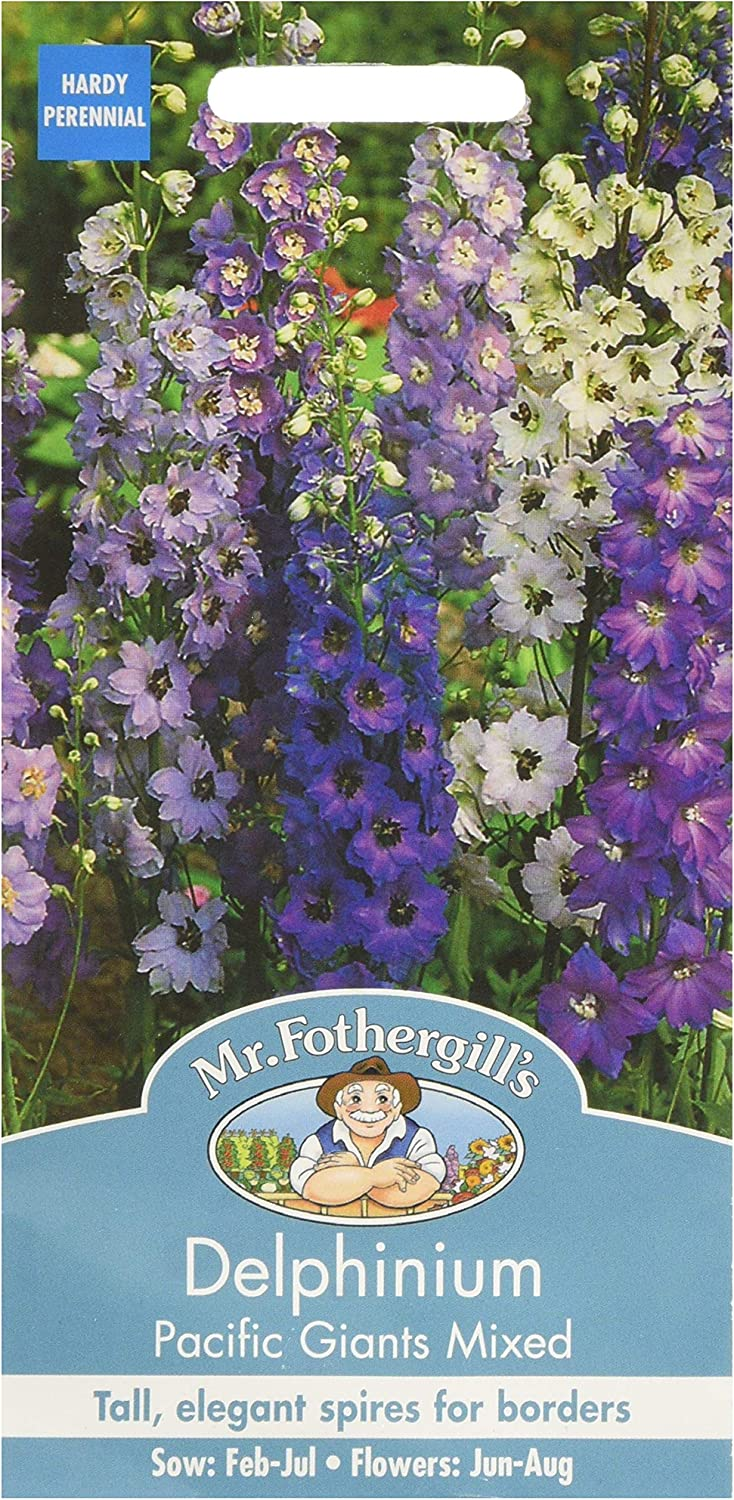 SEEDS FOTHERGILLS FLOWER  DELPHINIUM PACIFIC GIANTS MIXED SEED