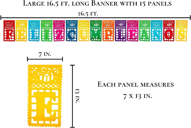 Muunek Feliz Cumpleaños Papel Picado Plastic Banner 16.5 ft Long