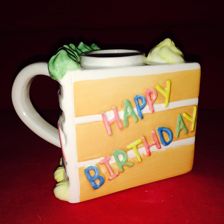 Peachy Amazon Com Slice Of Birthday Cake Mug Happy Birthday Coffee Personalised Birthday Cards Paralily Jamesorg