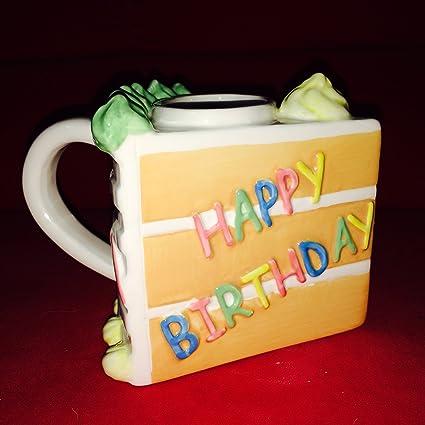 Amazon Com Slice Of Birthday Cake Mug Happy Birthday Coffee Cups