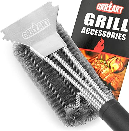 for All Stainless Steel Safe BBQ Grill Brush Canadian Company Grill Boss 100/% Rust-Proof High-Nickel 304 Stainless Steel Ceramic,Iron /& Porcelain Barbecue Grates.