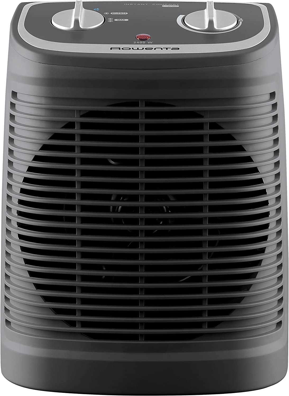 Rowenta SO2330F2 Radiateur et Ventilateur Soufflant Instant Comfort Compact Chauffage d/'Appoint et Ventilation Chaud Froid 2 Vitesses 2400W Silencieux Gris et Noir