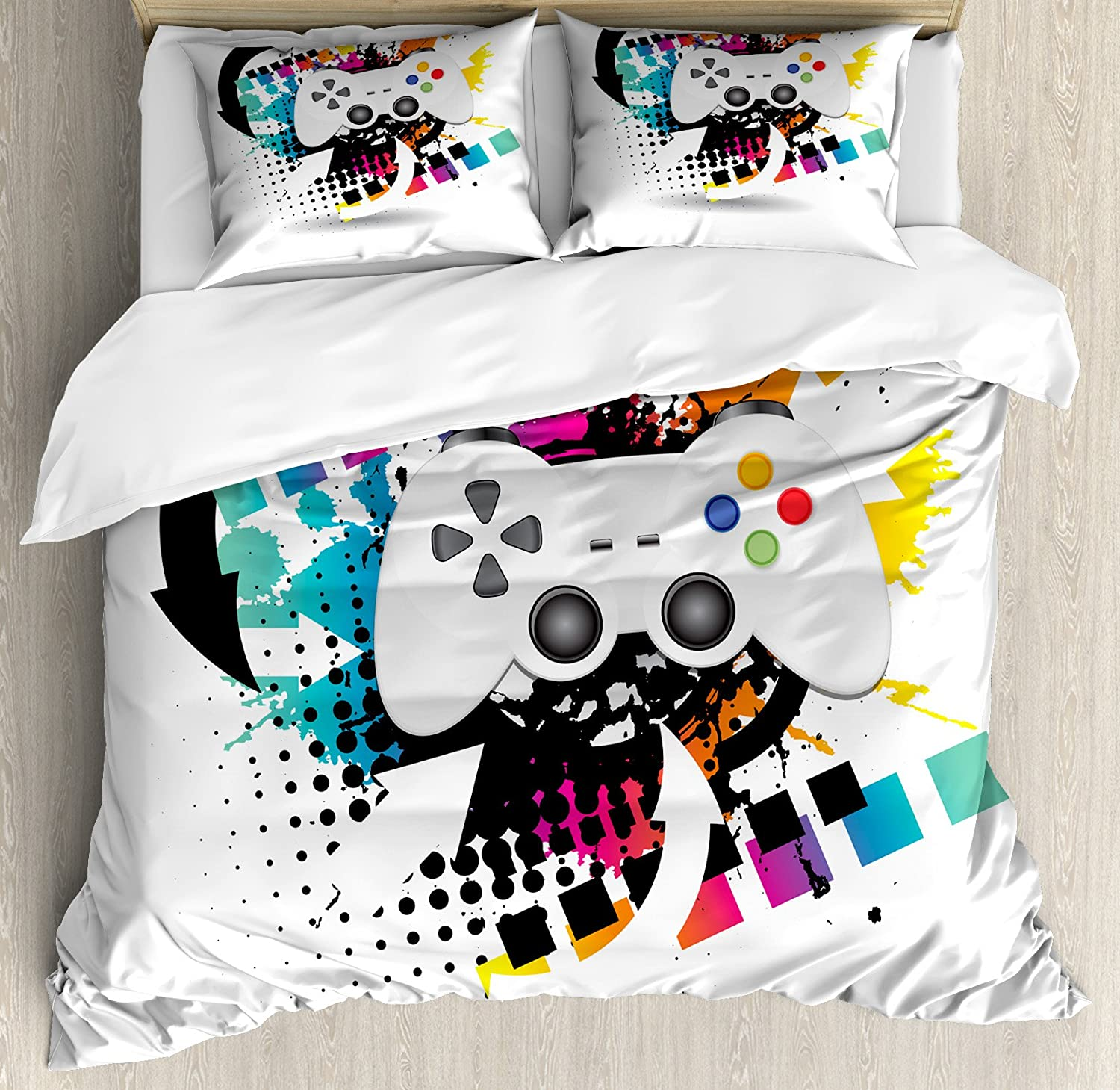 Lunarable Gamer Duvet Cover Set, Modern Console Game Controller with Halftone Motif and Color Splashes Background, Decorative 3 Piece Bedding Set with 2 Pillow Shams, Queen Size, Grey