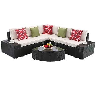 Do4U 6 PCs Outdoor Patio PE Rattan Wicker Sofa Sectional Furniture Set Conversation Set- White Seat Cushions & Glass Coffee Table| Patio, Backyard, Pool| Steel Frame (6134-EXP-WHI)