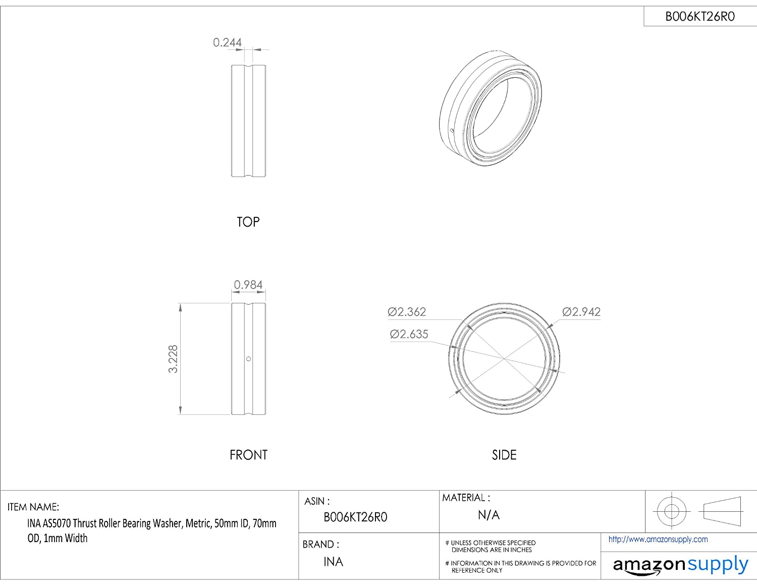 85mm OD 60mm ID 1mm Width INA AS6085 Thrust Roller Bearing Washer Metric