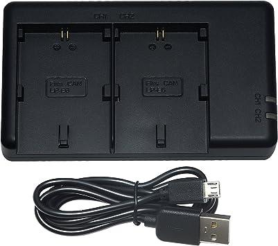 DSTE LC-E6E Batería USB Dual Quick Cargador Compatible para LP-E6 ...