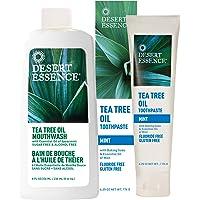 Desert Essence Tea Tree Oil Mouthwash 8 fl oz and Desert Essence Mint Tea Tree Oil Toothpaste 6.25 oz - Promotes Healthy Teeth and Gums - Tastes Great! - NO Gluten, Floride, SLS or Abrasives