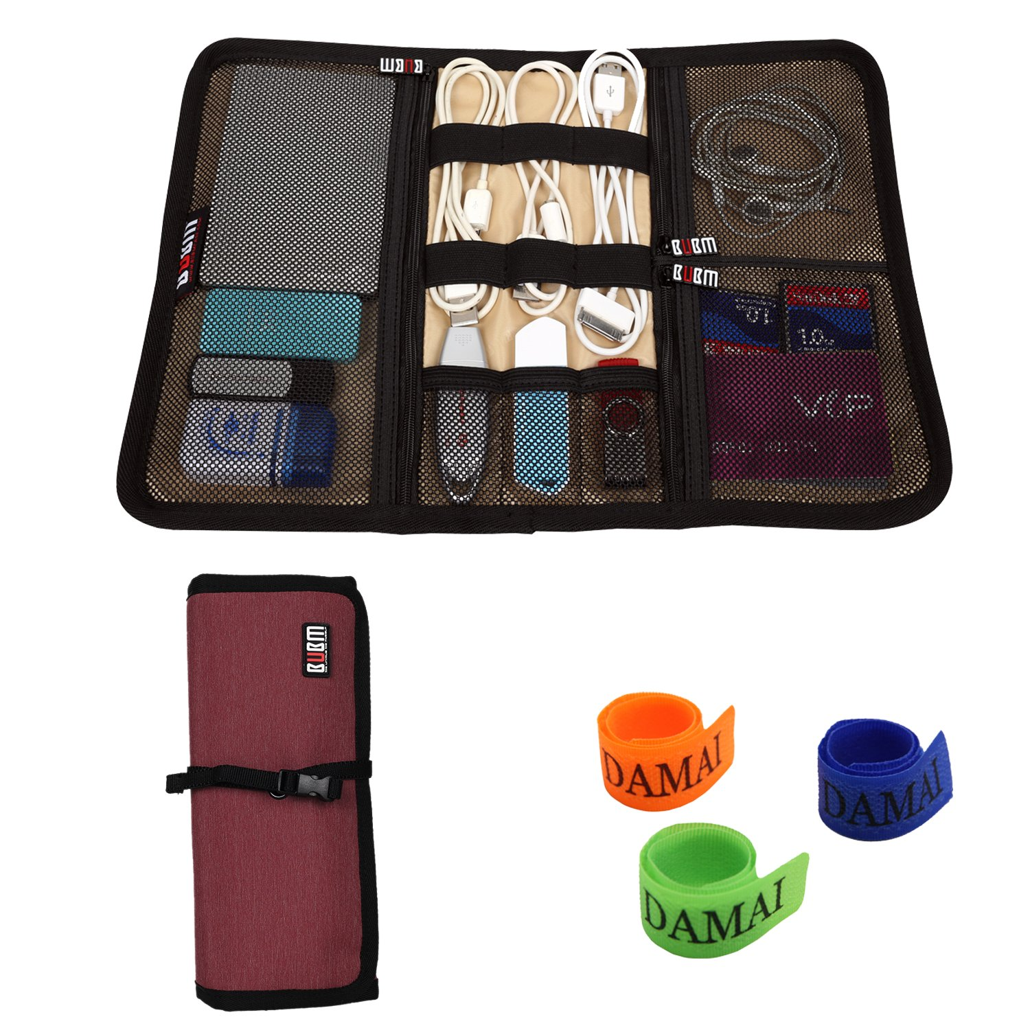 BUBM Portable Universal Wrap Electronics Accessories Travel Organizer / Hard Drive Bag / Cable Stable with Cable Tie (Medium-Wine Red)