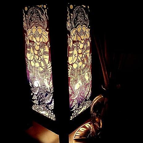 oriental lighting. Ganesha India Hindu Purple Handmade Asian Oriental Wood Light Night Lamp Shade Table Desk Art Gift Lighting