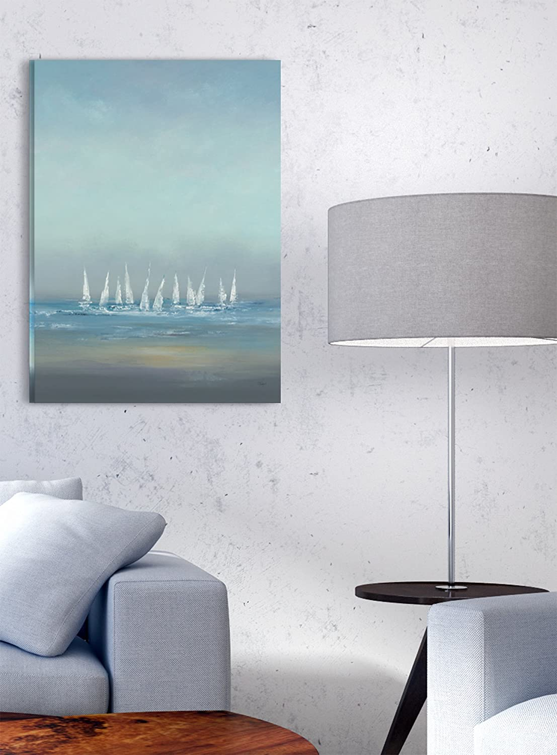 Multi-Color 11 x 14 The Stupell Home D/écor Collection The The Regatta Abstract Seascape Framed Giclee Texturized Art
